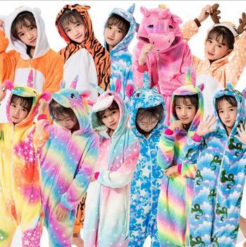 Kombinezon zimowy dla dzieci jednorożec piżama Kigurumi zwierząt żyrafa piżamy chłopcy dziewczęta onesies Cosplay flanelowe ścieg Onesie bielizna nocna tanie i dobre opinie COTTON Poliester Flanela Unisex Pasuje prawda na wymiar weź swój normalny rozmiar 4-12 years Kigurumi Children Cartoon Onesies Hooded Kigurumi