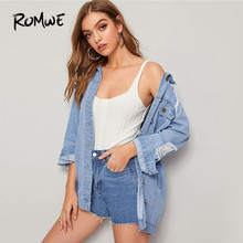 ROMWE Ripped Pocket Patched Denim Jacket Women 2019 Autumn Light Wash Jean Jacket Single Breasted Oversize Casual Long Coat Top pocket patched tartan shirt