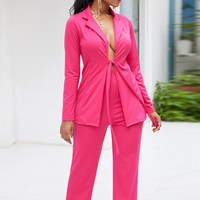 Nice Spring Autumn Office Women Work Suit Set Office Lady Sexy Lace Up Bowknot Jacket Blazer And Long Pant 2 Piece Suit