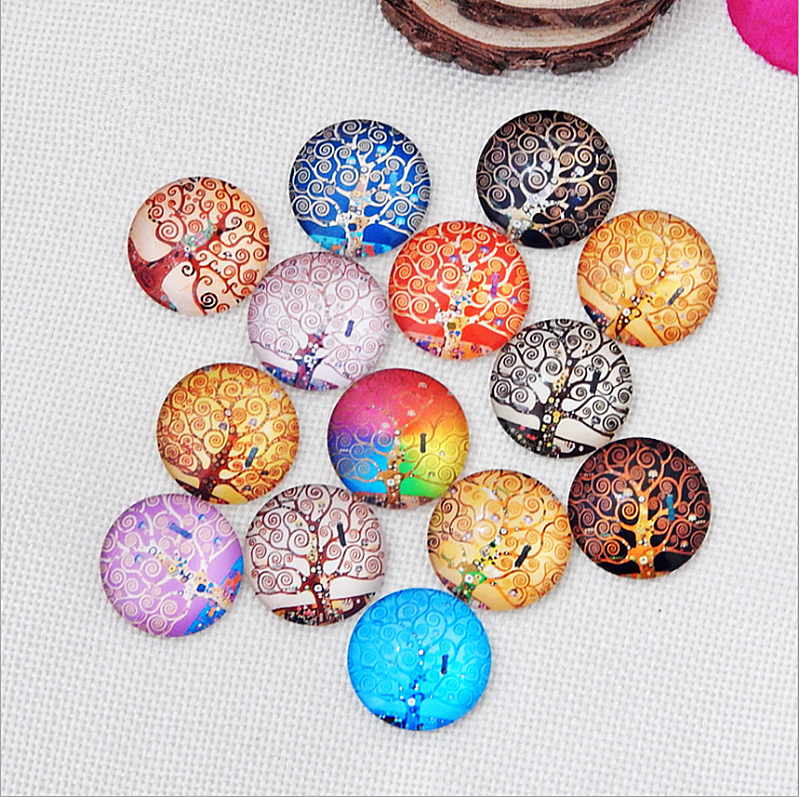 1pack 10/12/14/16/18/20/25/30mm Round TreePhotos Glass Cabochon Mixed Pattern Fit Cameo Base Setting Jewelry Components
