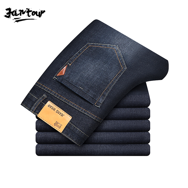 2019 Autumn Winter Mens Jeans Trendy Stretch Blue Black Denim Men Slim Fit Jeans Trousers Pants Size 30 32 34 35 36 38 40 Jean