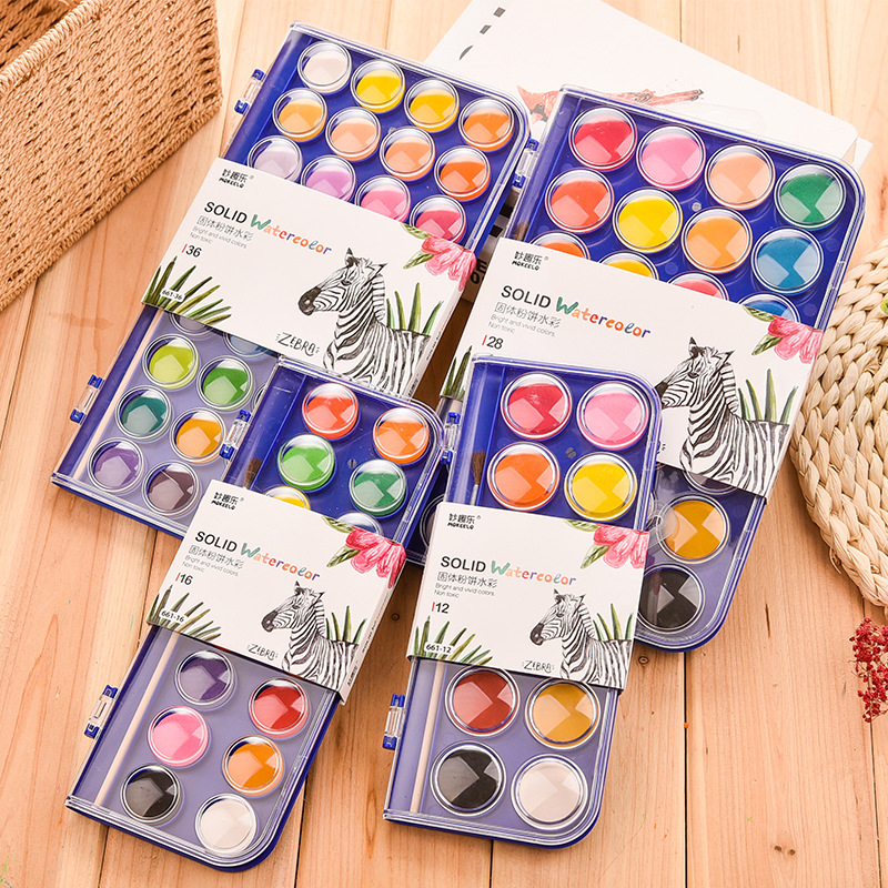 12/16/28/36colors Solid Waterolor Paint Set Bright Color Portable Watercolor Pigment Set With Hook Line Brush For Painting Art S