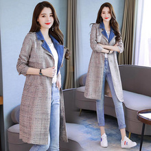 LANMREM Fashion Trend Leisure Style Full Sleeve Denim Patchwork Fake Lapel Collar Bright Silk Slim W