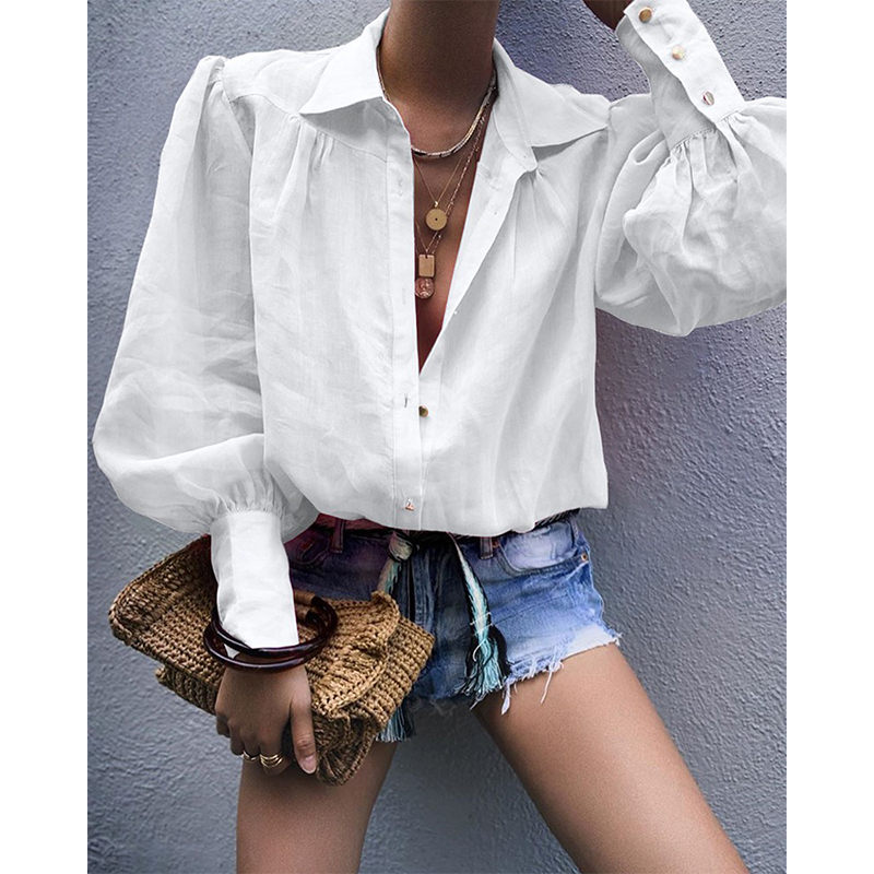Sexy Turn Down Collar Office Ladies   Blouse   Women Autumn Lantern Long Sleeve Elegant   Shirt   Solid Color Button Tops   Blouses
