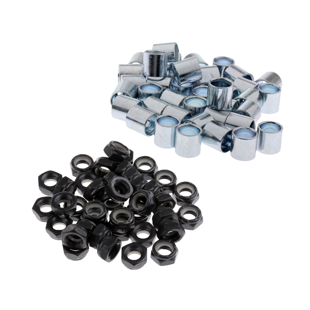 40 Pcs Skateboard Longboard Truck Wheels Axle Nuts + 40 Pcs Bearing Spacers