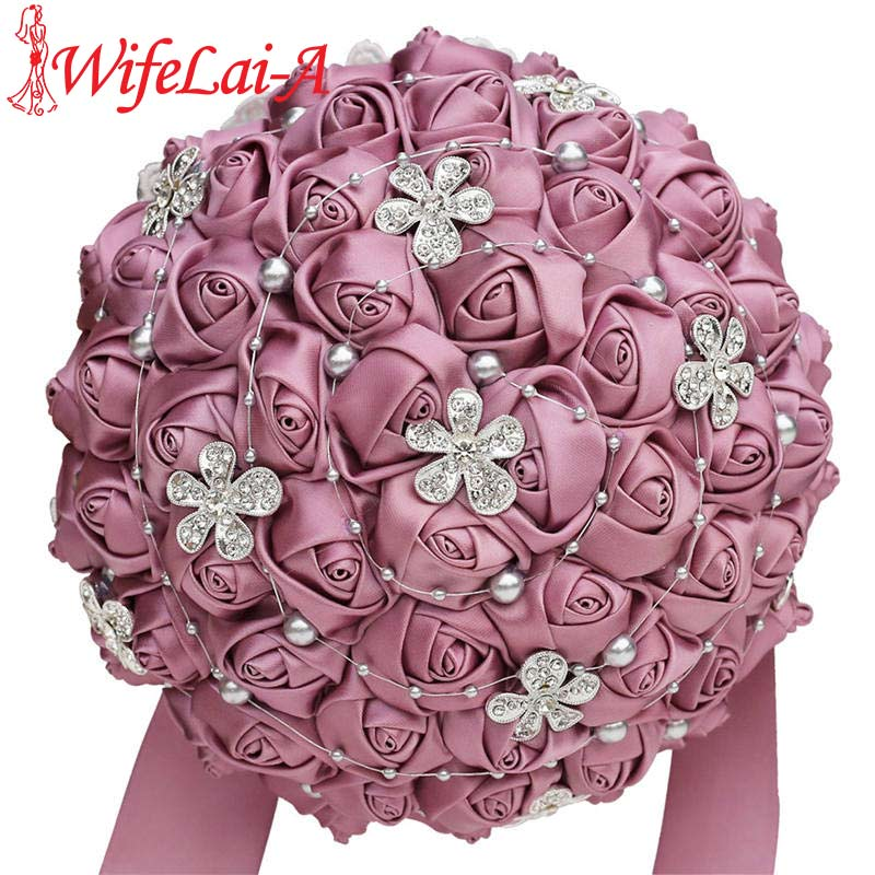 WifeLai-a Velvet Purple Silk Rose Bridal Wedding Bouquet Romantic Bridal Bridesmaid Holding Fowers Crystal Brooch Bouquet W569
