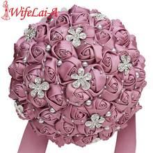 WifeLai eine samt Lila Seide Rose Braut Hochzeit Bouquet Romantische Braut Brautjungfer Halten Fowers Kristall Brosche Bouquet W569