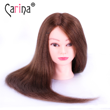 60CM 100% Human Hair Hairdressing Head For Hairstyles Mannequin Head With Natural Hair Professional Training Dummy Cosmetology