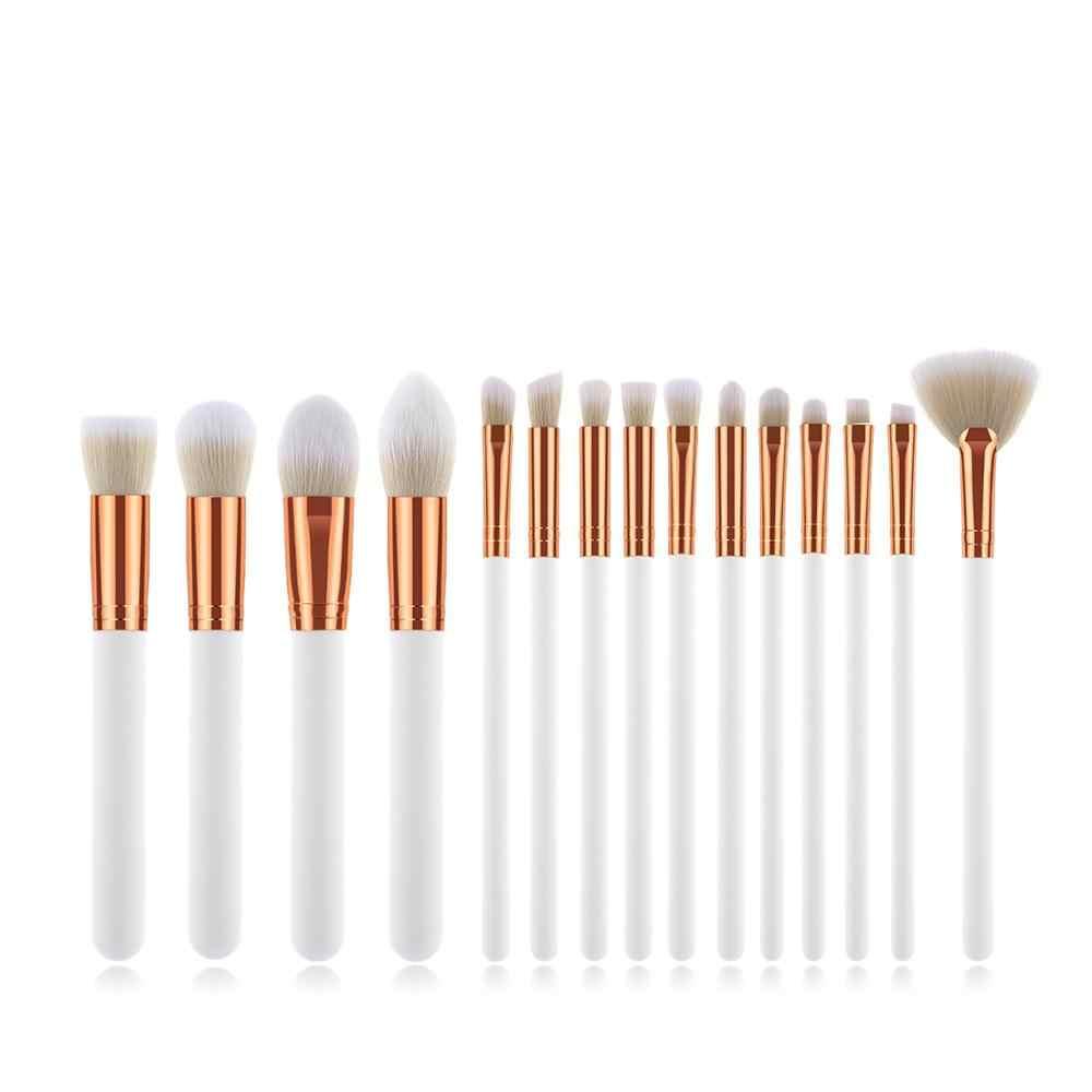 15 шт./компл. набор кистей для макияжа Кисти для макияжа, мягкие синтетические головка чистящей щетки для тональной основы вентилятор плоская щетка комплект ювелирных изделий для женщин тени для век лица макияж