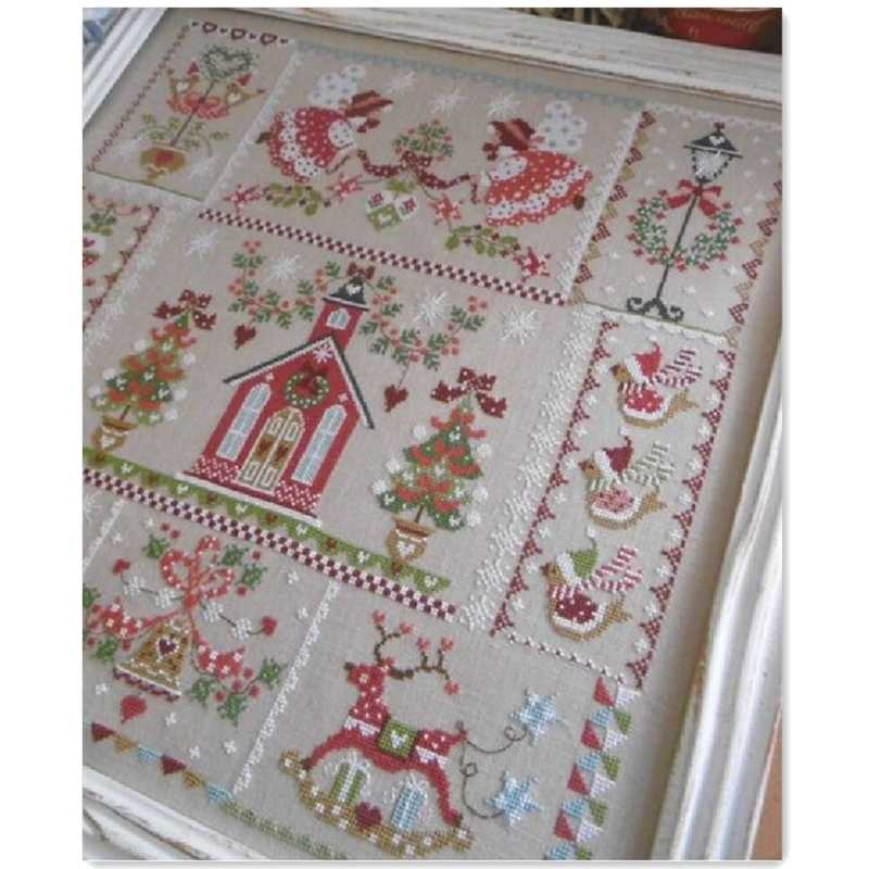 Christmas girl cross stitch kit simple cartoon design cotton silk thread 14ct 11ct linen flaxen canvas embroidery DIY needlework