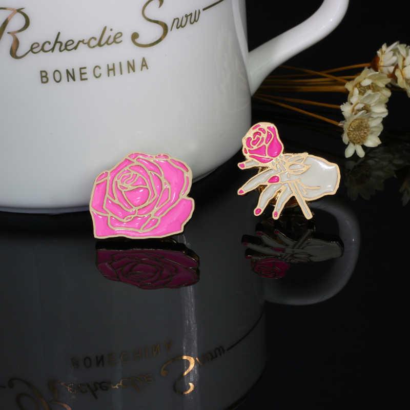 Bunga Lencana Kartun Fashion Bros Enamel Daisy Merah Hitam Rose Pakaian Wanita Kerah Pin Aksesoris Perhiasan Hadiah