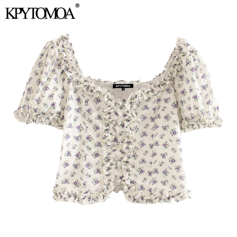 KPYTOMOA Women 2020 Sweet Fashion Floral Print Ruffled Cropped Blouses Vintage Square Collar Puff Sleeve Female Shirts Chic Tops