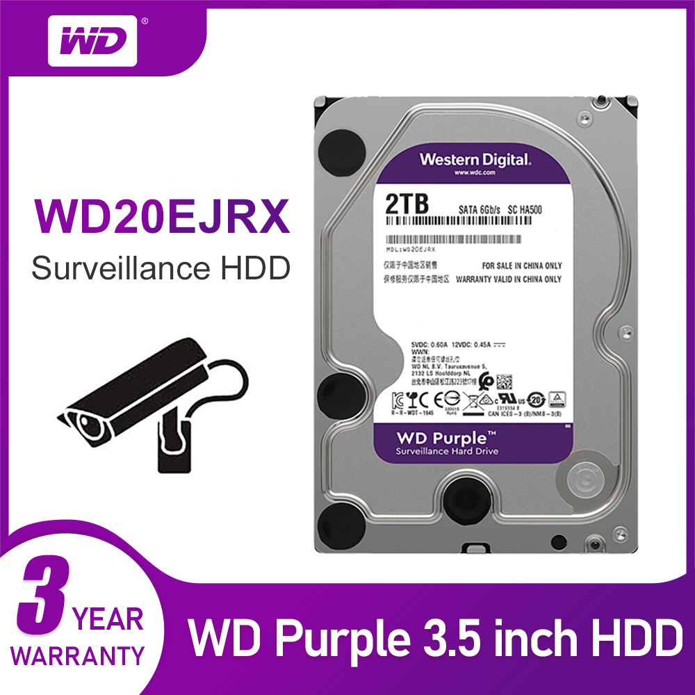 WD Original Purple Surveillance HDD 1TB 2TB 3TB 4TB 6TB 8TB 10TB 12TB SATA 6.0Gb/s 3.5
