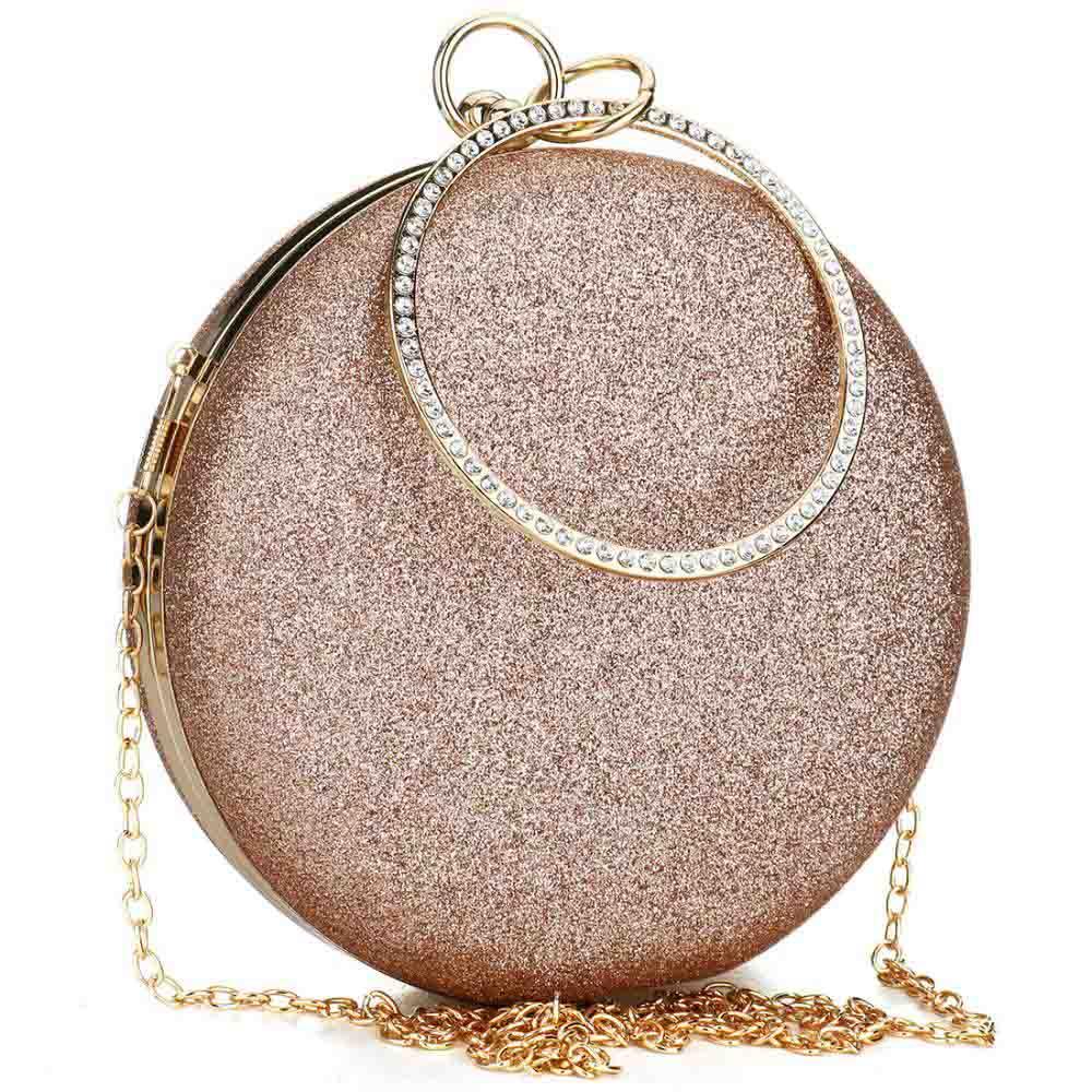 2020 Women Party Bags Wedding Evening Clutch Circular Chain Round Bag Purses Crossbody Shoulder Bags Clutch Gold Gillter Handbag