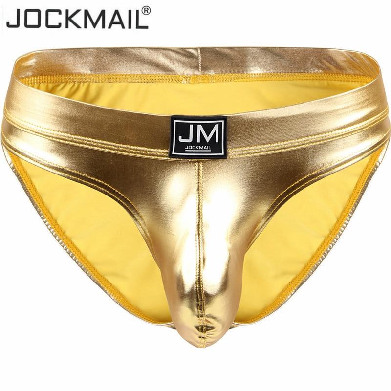 Jockmail Sexy Men Underwear Slips Hombre Thong Men Briefs Bikini Tanga Gay Underwear Penis Pouch Big Sheath Jockstrap PU Leather
