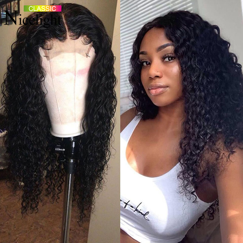 Nicelight 4x4 Lace Closure Wigs 10-26Inch Water Wave Wigs Brazilian Human Hair Wigs 150% Density Remy Hair Wigs For Black Women