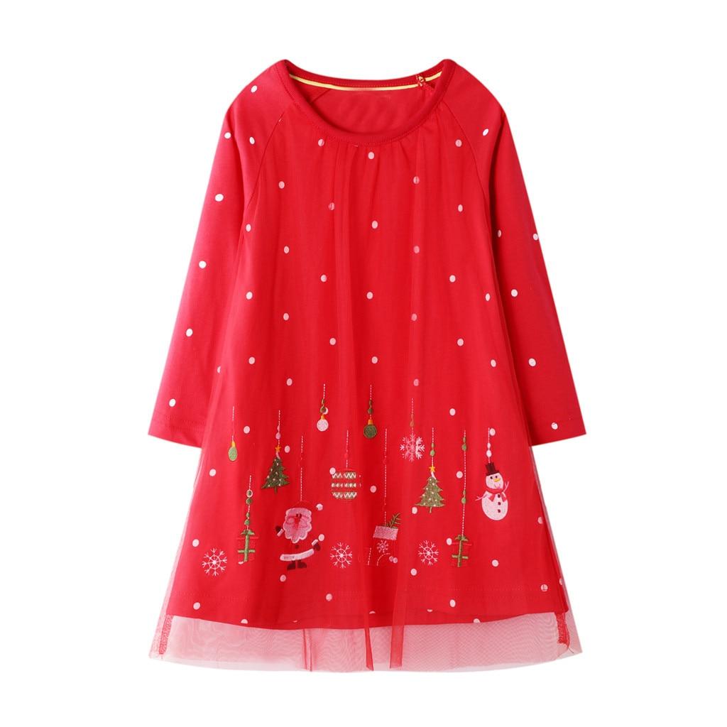 Toddler Baby Kids Girls Christmas XMAS Cartoon Snowman Print Dresses Outfits
