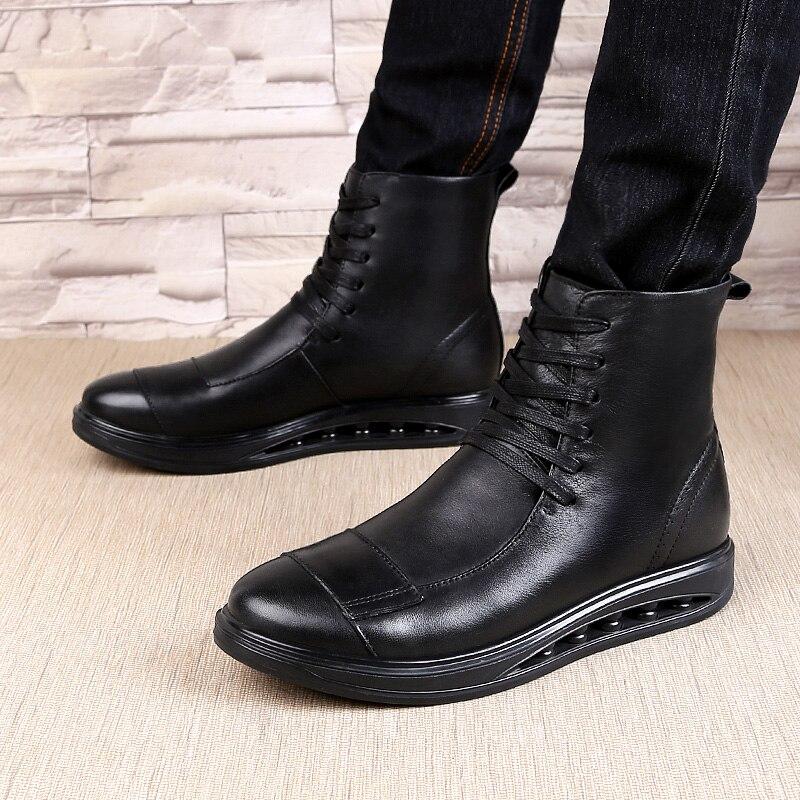 Ботинки «Челси»; мужские удобные ботинки наивысшего качества на шнуровке; модные повседневные кожаные ботинки из натуральной кожи; Мужские... - 6