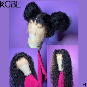 KGBL 360 Curly Natural Color Frontal Wigs For Women Brazilian Pre-Plucked Lace Front Human Hair Wigs Non-Remy Middle Ration 250%(China)