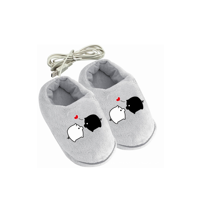 1 Pair Soft Electric Heating Pad Slipper USB Foot Warmer Shoes Cute Rabbits Christmas Gift Practical Safe And Reliable Plush