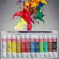 Pintura de parede 12 cores pintado acrílico conjunto colorido suprimentos tintas têxteis mão brilhantemente arte pintura profissional