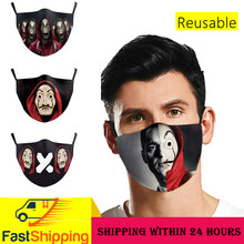Máscara facial reutilizável lavável filtro máscaras à prova de vento máscara protetora capa halloween máscaras boca la casa de papel men máscara moda