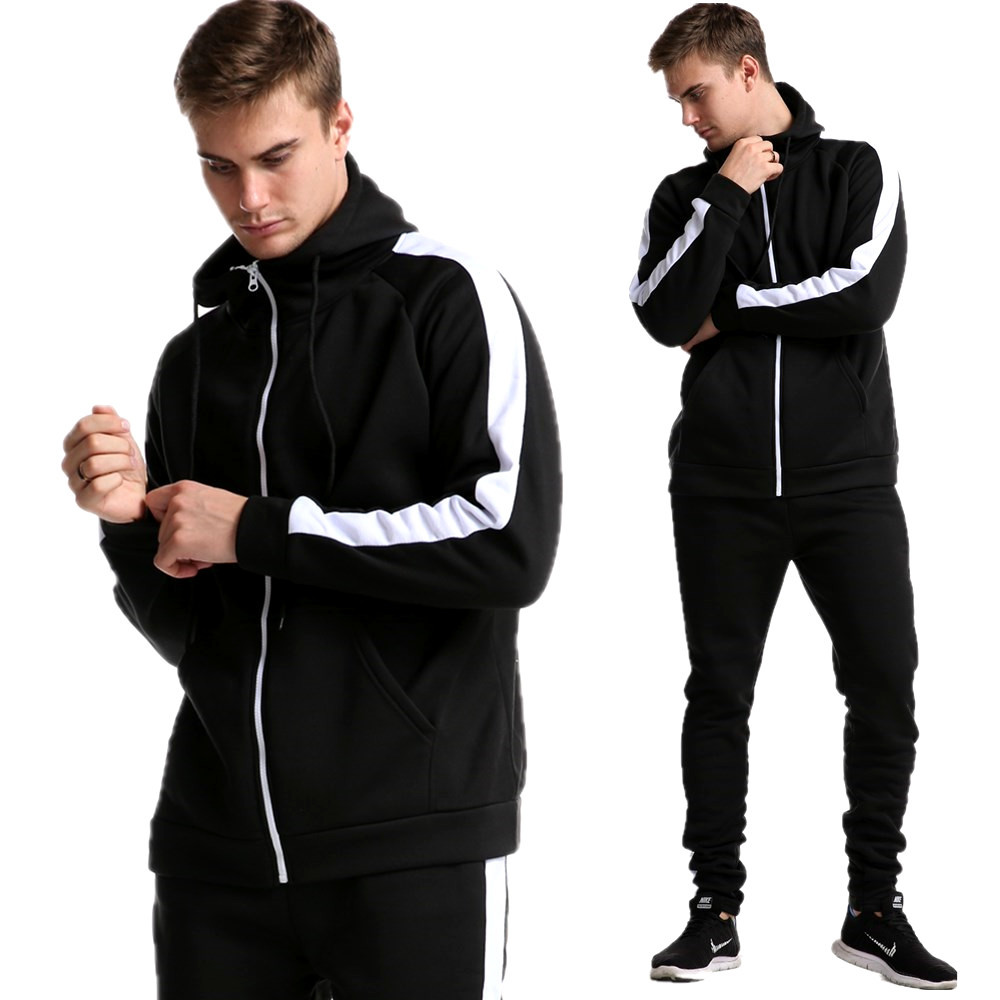 New Fashion Tracksuit Warm Winter Men Sport Patchwork Set Zipper Hoodie Sweatshirt GYMS Fitness Pants Workout Running Suit
