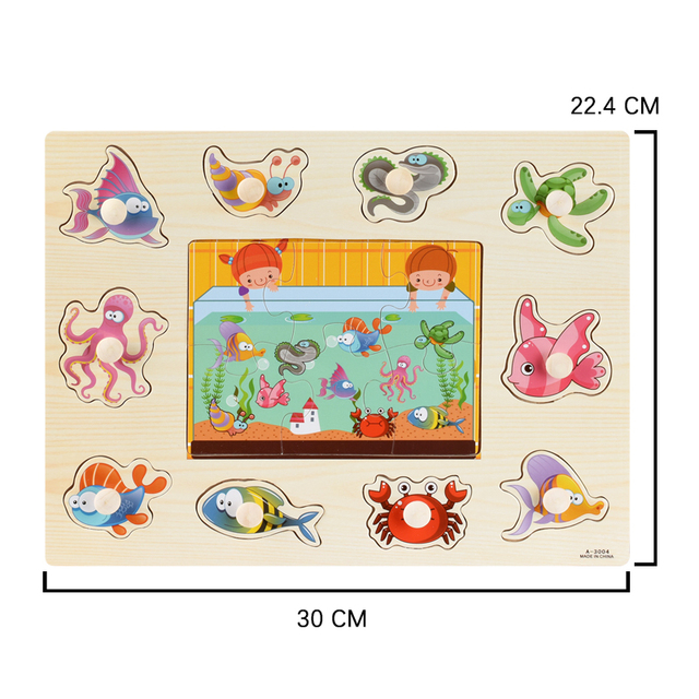Montessori Wooden Puzzles Hand Grab Boards Toys Tangram Jigsaw Baby Educational Toys Cartoon Vehicle Animals Fruits 3D Puzzles 6