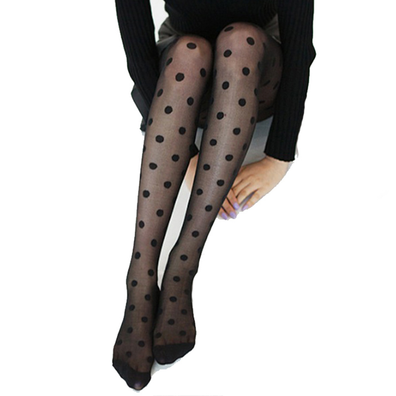 Japan Style Dot Patterned Women Pantyhose Fashion Sweet Girl Black Sexy Tights Female Stocking Transparent Silk Tights(China)