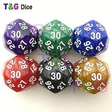 1 шт. Забавный D30 мраморные цвета игральные кости тридцать сторонний Die RPG для празднования дня рождения многогранные