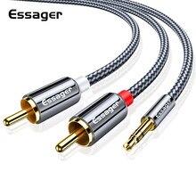 Cabo audio jack de essager rca 3.5 a 2 rca cabo 3.5mm jack a 2rca macho divisor aux cabo para tv amplificadores de pc fio do orador dvd