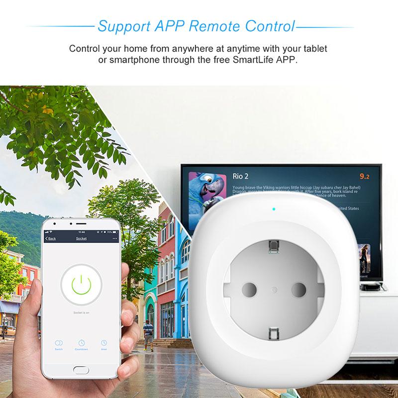 Wifi Smart Socket EU Power Plug  Wireless Mobile APP Remote Control USB Output Works with Alexa Google Home Smart life tuya 10A