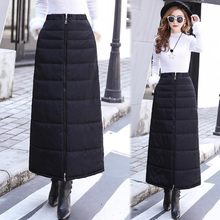 2019 Winter Plus Size Warm Thick Down Cotton Skirt Zipper Pocket Elastic High Waistr Solid Black A Line Long Maxi Skirt Saias(China)