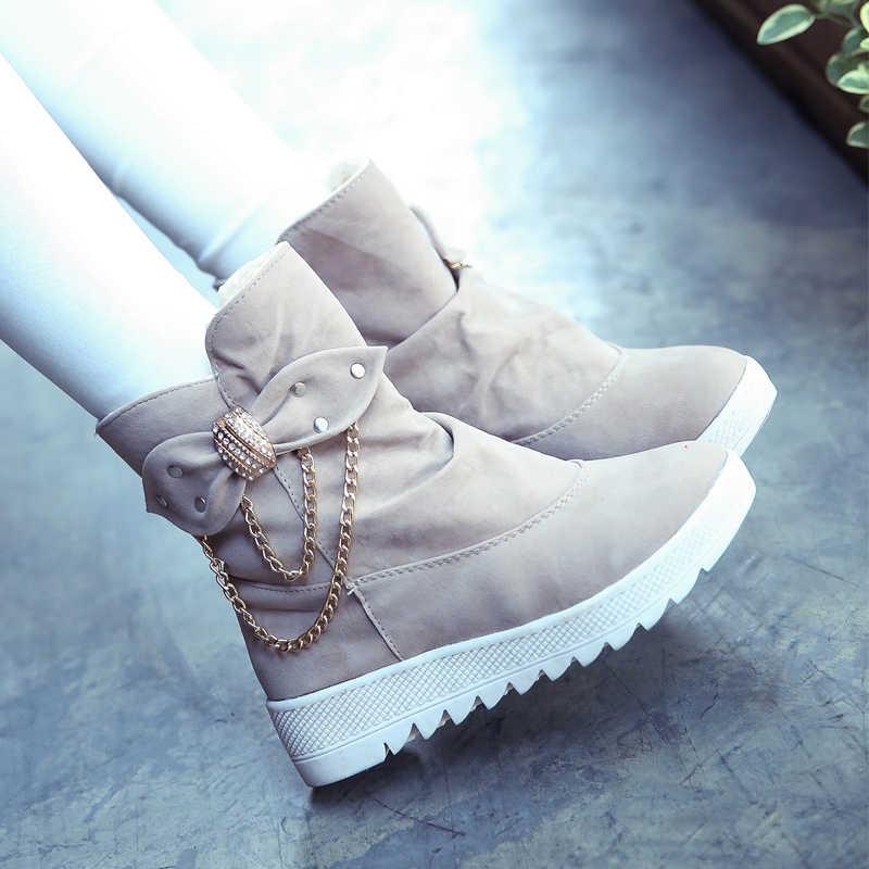 LZJ Mujer Zapatos Yeni Kadın Rahat Kış sıcak Kar Botları Kadın Konfor Yuvarlak Ayak Daireler üzerinde Kayma Orta buzağı Çizmeler Kadın Botları