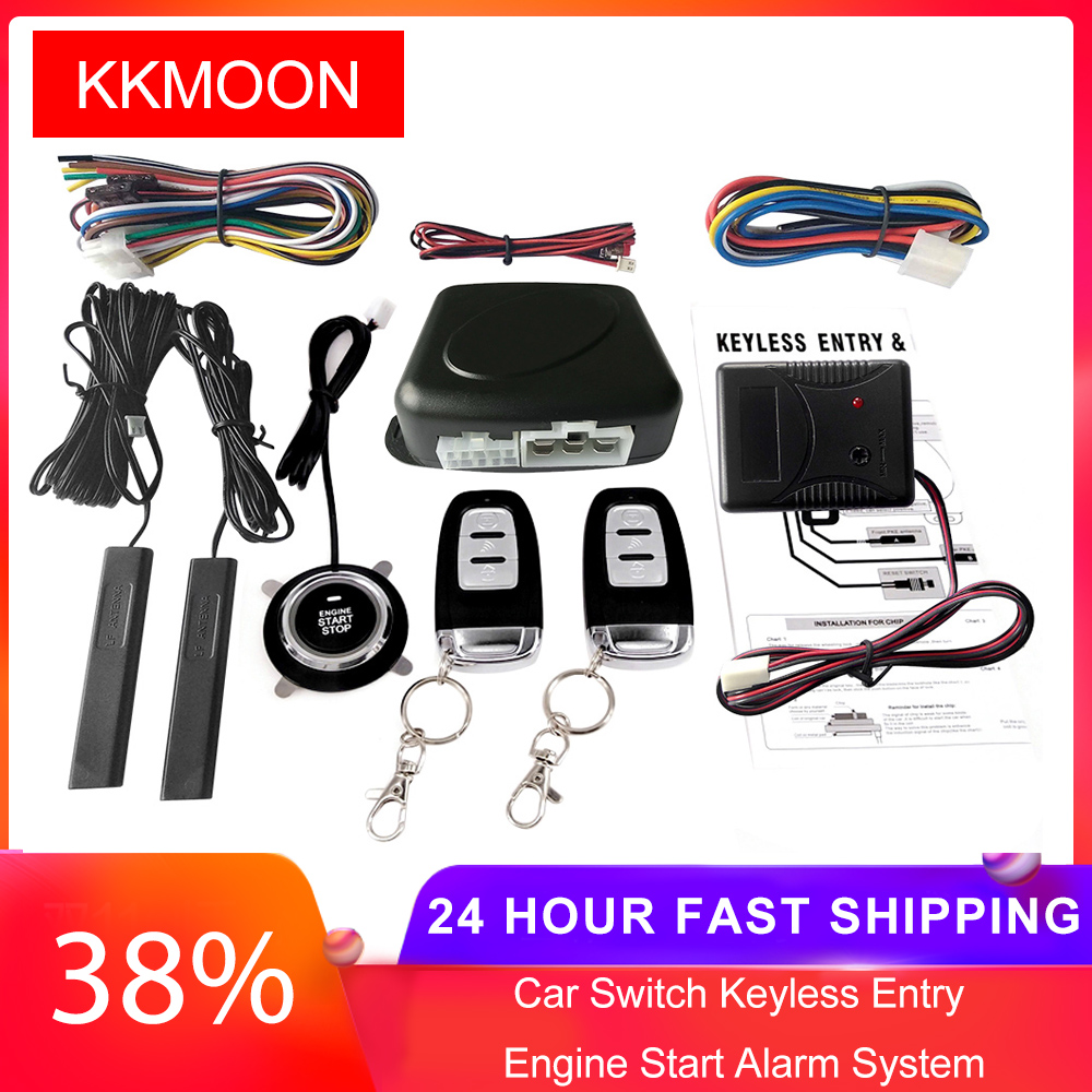 Car Switch Keyless Entry Engine Start Alarm System with Vibration Sensor Push Button Remote Starter Stop Auto Anti-theft System(China)
