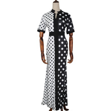 Polka Dots Print Women Office Dress Black White Contrast Short Sleeve Summer Dresses African Elegant Plus Size Long Robe Femme моноблок hp 200 g4 9us64ea intel core i3 10110u 8 гб 1000 гб intel uhd graphics 620 21 5 1920x1080 dvd rw windows 10 professional 64