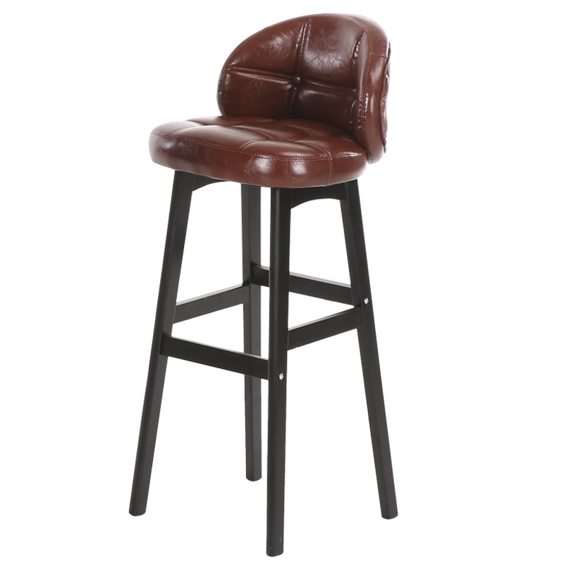 Solid Wood Bar Stool High  Modern Minimalist  Chair  Front Desk Cashier Back Home