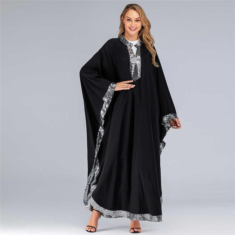 スパンコールアバヤドバイイスラム教徒ドレスイスラムの服ヒジャーブドレスカフタンモロッコカフタン Djelaba Tesettur Elbise