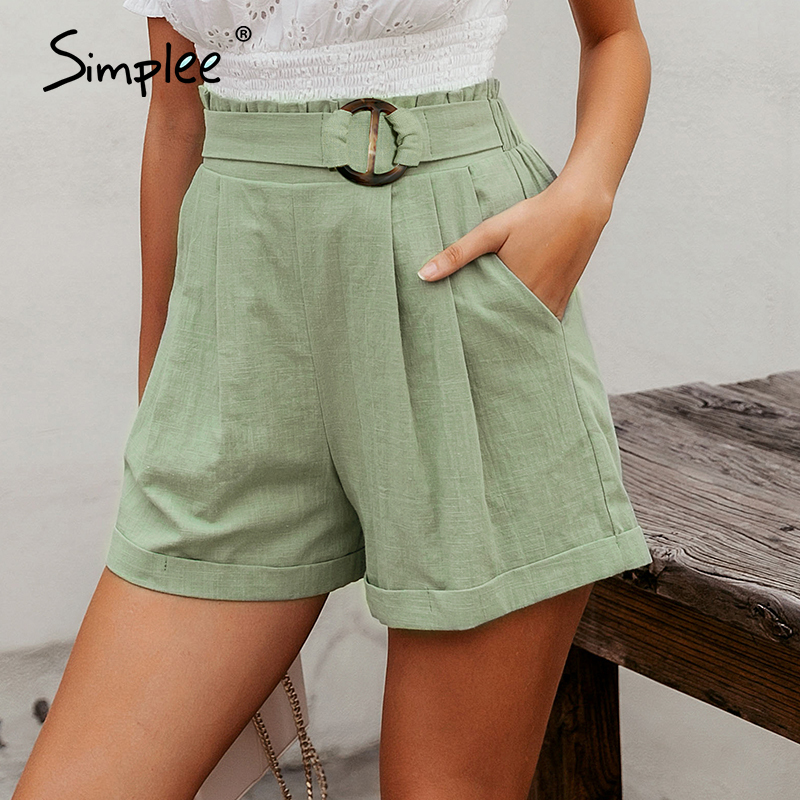 Simplee Casual Women High Waist Shorts Solid Green Summer Beach Style Holiday Ladies Shorts Pocket Ring Blet Sash Ruffles Shorts