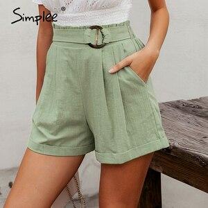 Image 1 - Simplee casual feminino cintura alta shorts sólido verde verão praia estilo férias senhoras shorts bolso anel blet faixa babados shorts