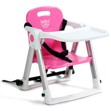 Baby Seat Booster Folding High Chair W/ Safety Belt & Tray Dining Outing Pink