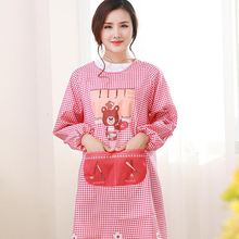 Gown Apron Anti-Dress Kitchen Adult Korean-Fashion Sleeve Female Cute with Factory-Direct