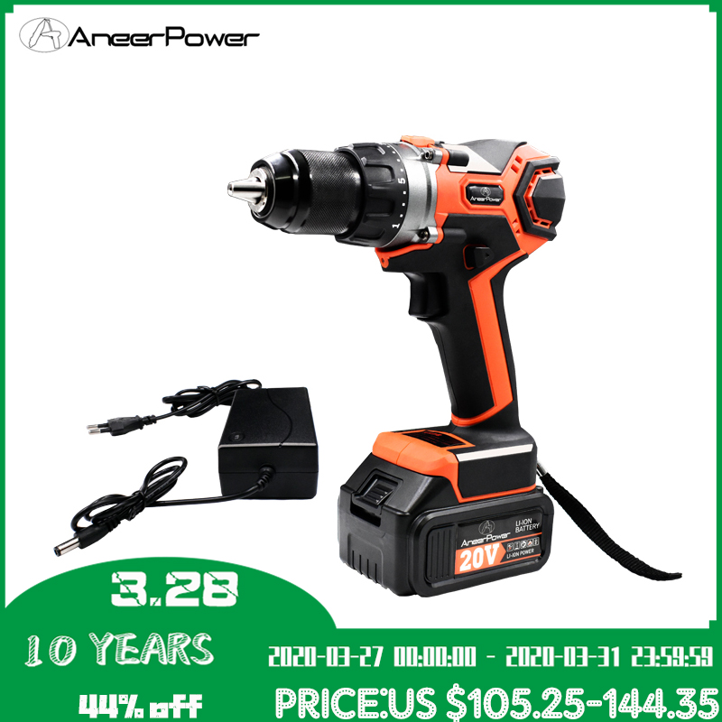 Impact Hand Drill Brushless 20V Power Tools Rechargeable Electric DrillScrewdriver 3.0 2.0Ah Battery Capacity Cordless Drill|Electric Drills| |  - title=