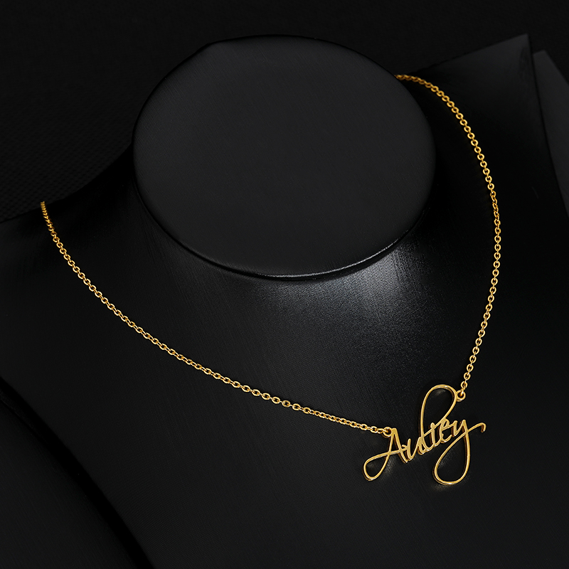 Scriptina Font Necklace,Custom Name Necklace, Gold stainless steel long Chain Necklace, Custom Name Jewelry,Bijoux Femme BFF