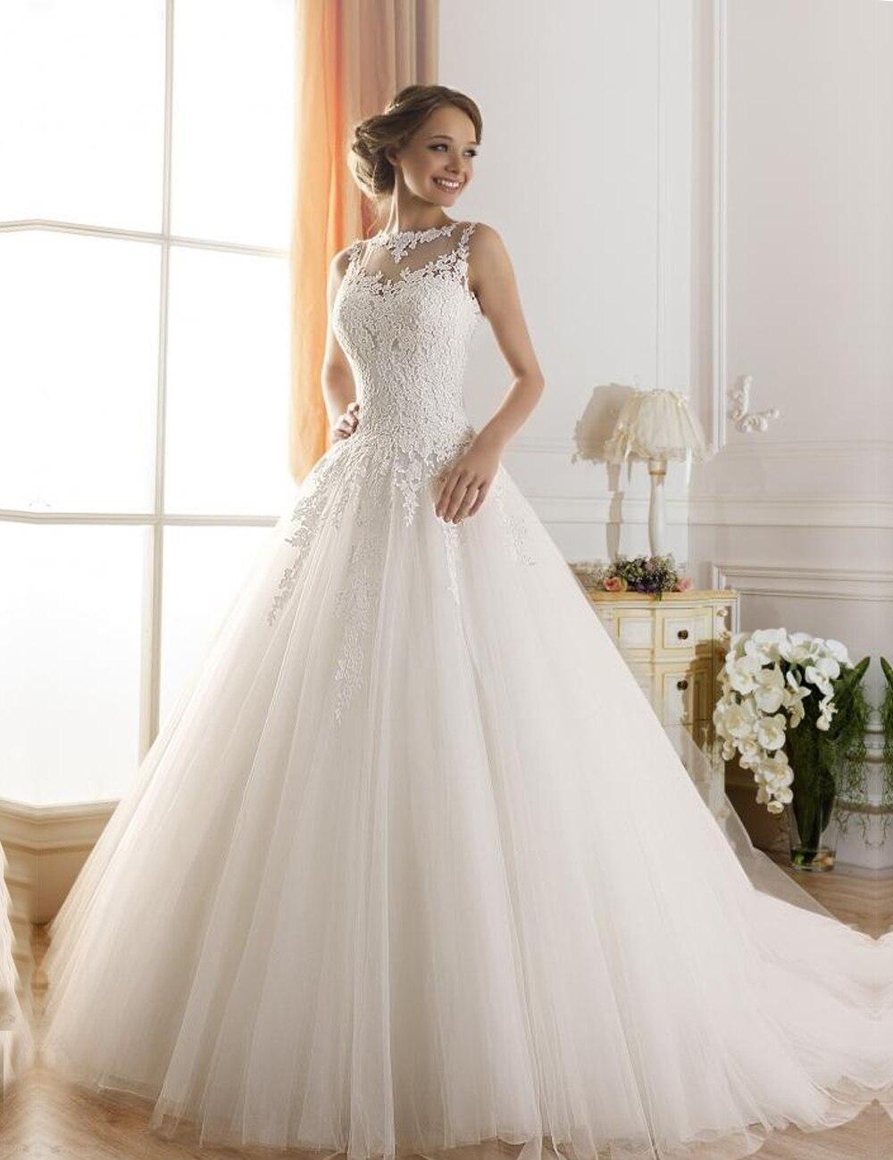 2015 A Line Lace Wedding Dresses SexyJewel Sheer Neckline Beaded Lace Fluffy Robes De Mariage Vestido De Novia Sin Espalda