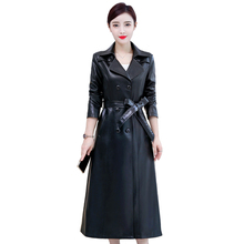 Fashion X-Long Leather Coat Women 2019 Autumn Winter PU Jacket Casual Windbreaker Long Ladies Belt