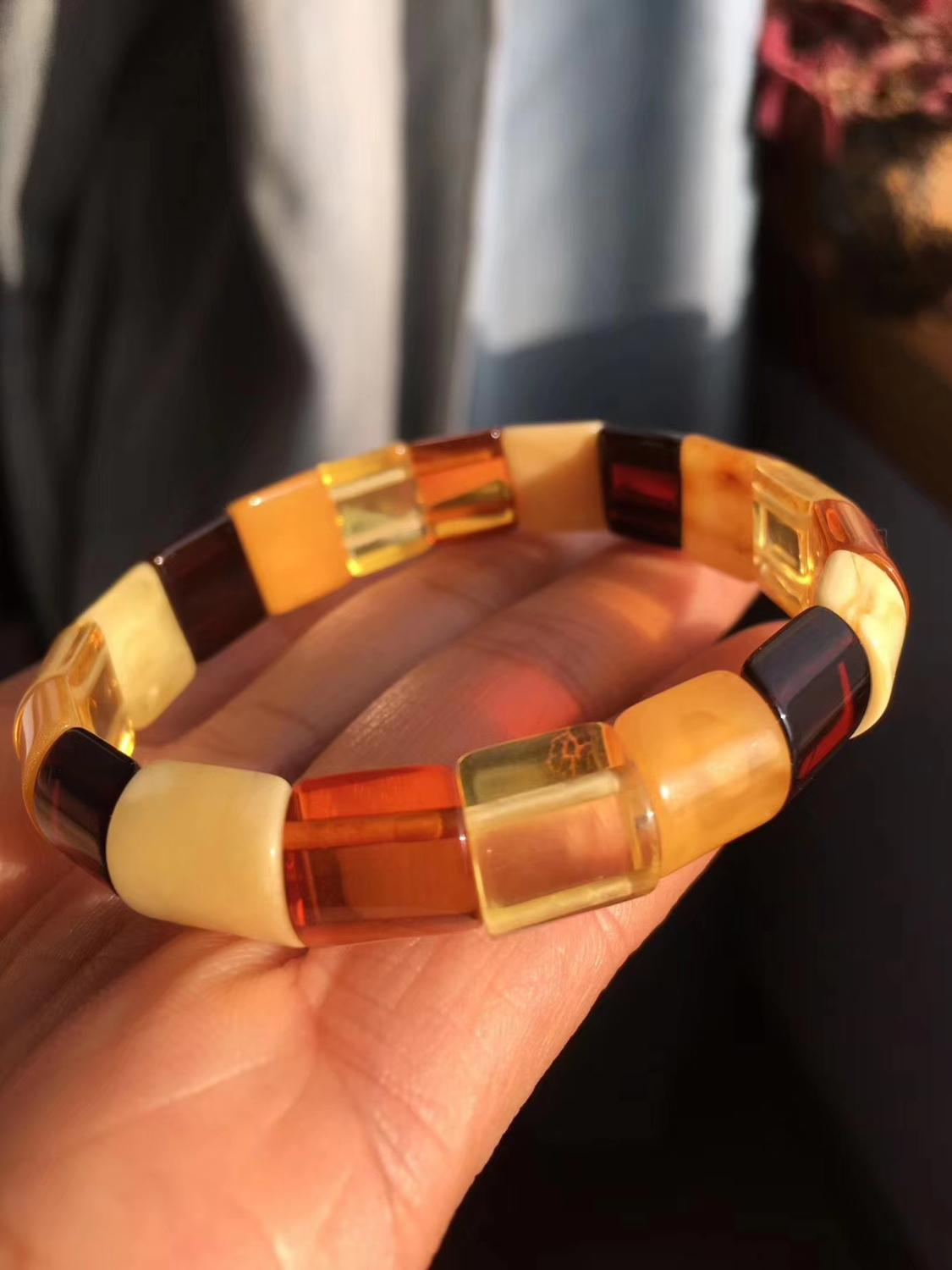 Certificate 10mm Natural Red Amber Yellow Piebald Amber Bracelet 14x13mm Women Stretch Healing Crystal Rectangle Beads