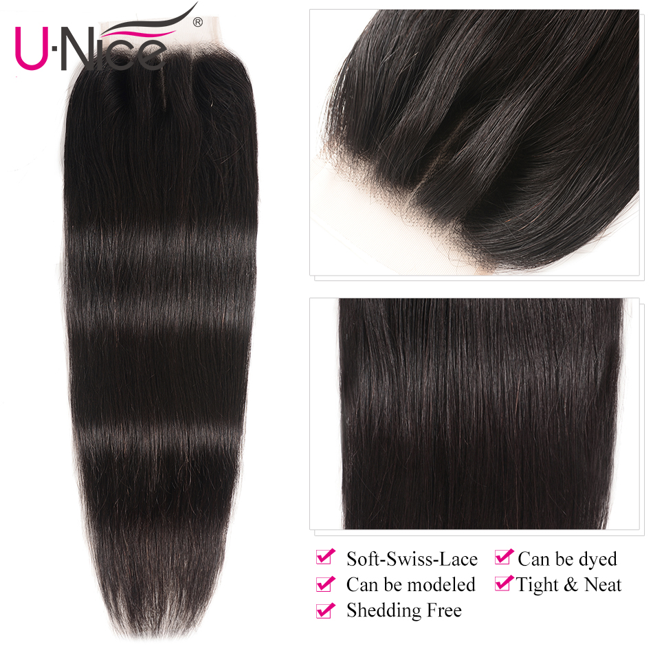 "Image 5 - UNice Hair Brazilian Straight Hair Closure Free &Middle &Three Part Remy Human Hair Lace Closure Swiss Lace 4""x4"" 1 Piece-in Closures from Hair Extensions & Wigs"
