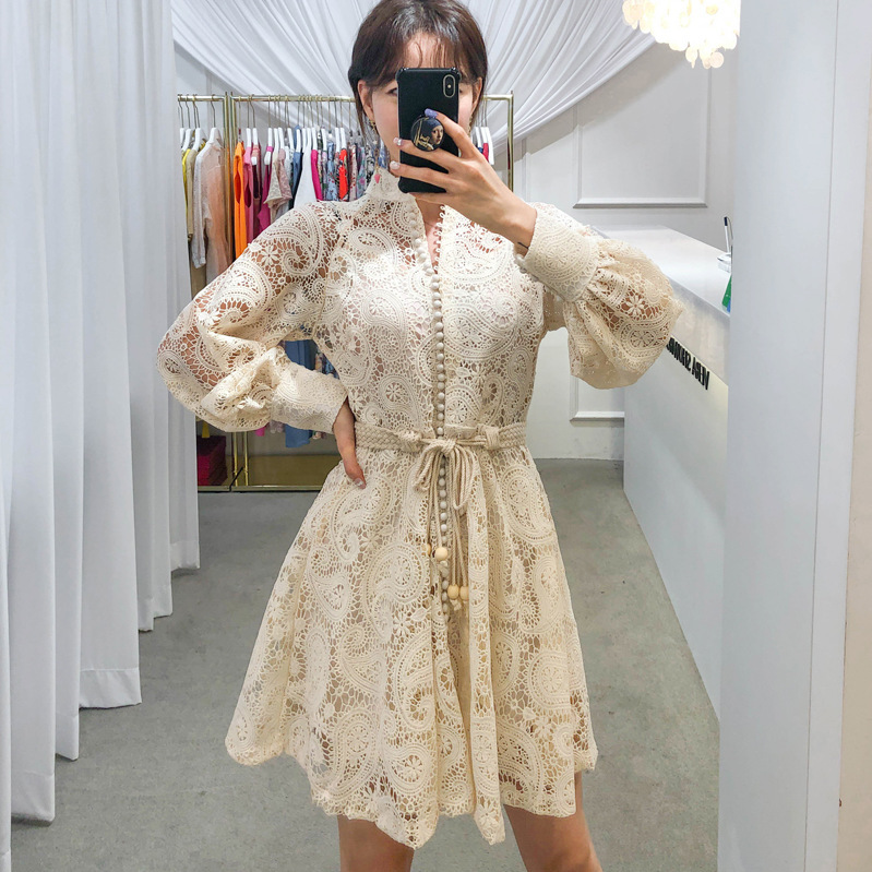 Australia Rich Lady 2019 Autumn Machine Embroidery Puff Sleeve Retro Palace Style Slim Fit Lace Dress 8914