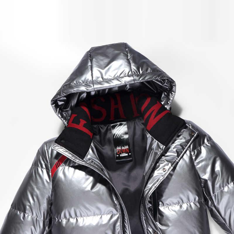 Высший сорт 2019 новый зимний модный брендовый пуховик для мужчин с капюшоном уличная пуховая куртка длинная теплая мужская одежда на утином пуху